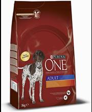 Purina ONE 3kg Adult Runsaasti Kanaa, sisältää Riisiä koiranruoka