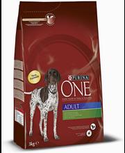 Purina ONE 3kg Adult Runsaasti Lammasta, sisältää Riisiä koiranruoka