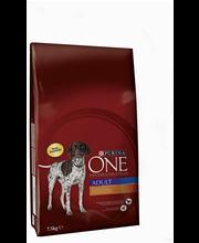 Purina ONE 7,5kg Adult Runsaasti Kanaa, sisältää Riisiä koiranruoka