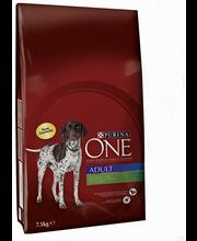 Purina ONE 7,5kg Adult Runsaasti Lammasta, sisältää Riisiä koiranruoka
