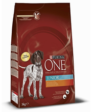 Purina ONE 3kg Junior Runsaasti Kanaa, sisältää Riisiä koiranruoka