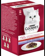Gourmet 6x50g Mon Petit Sisältää Naudanlihaa, Vasikanlihaa ja Lammasta lajitelma 3 varianttia kissanruoka