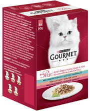 Gourmet 6x50g Mon Petit Sisältää Tonnikalaa, Lohta ja Taimenta lajitelma 3 varianttia kissanruoka