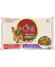 Purina One 4x100g Small Dog <10kg Active Nautaa, Perunaa ja Porkkanaa ja Ankkaa, Pastaa ja Vihreitä papuja lajitelma 2 varianttia koiranruoka