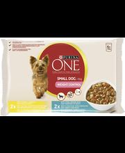 Purina One 4x100g Small Dog <10kg Weight Control Kalkkunaa, porkkanaa ja herneitä ja Porsasta, tummaa riisiä ja tomaattia lajitelma 2 varianttia koiranruoka