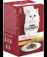Gourmet 6x50g Mon Petit Duo Nauta-Kana, Kalkkuna-Maksa ja Siipikarja-Lammas lajitelma 3 varianttia