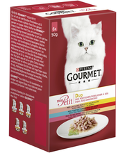 Gourmet 6x50g Mon Petit Duo Lohi-Kana, Tonnikala-Nauta ja Taimen-Kalkkuna lajitelma 3 varianttia