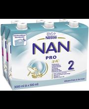 Nestlé Nan 6x500ml Pro 2maitopohjainen käyttövalmis vierotusvalmiste