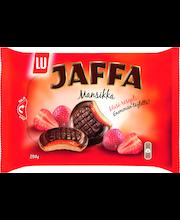 Jaffa Mansikka 294g suklaalla kuorrutettu leivoskeksi, jossa mansikanmakuista täytettä  (52%)