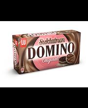 Domino Suklainen Original 354g maitosuklaalla (14%) kuorrutettu  keksi, jossa vaniljanmakuista täytettä (25,8%)
