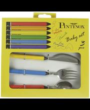 Pintinox värikynät lasten aterimet 3 osaa