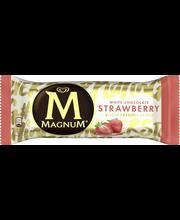 Magnum 90g/110ml Strawberry White mansikkajäätelö mansikkakastike valkosuklaakuorrute jäätelöpuikko