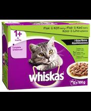 WHISKAS 1+ 12x100g Kala&Lihalajitelma kastikkeessa, kanaa, lohta, häränlihaa, tonnikalaa, täysrehua aikuisille kissoille