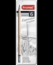 Bruynzeel Expression lyijykynät 6 kpl metallirasiassa