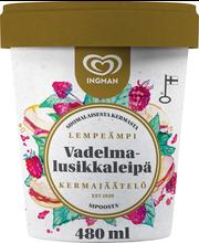 Ingman 480ML / 245g jäätelöpakkaus Vadelmalusikkaleipä