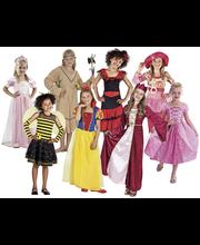 Rooliasulajitelma tytöille, useita erilaisia ja kahta eri kokoa  4-6 ja 7-9 vuotiaille