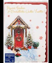 Joulukortti 2-osainen 8 Kpl
