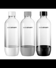 SodaStream hiilihapotuspullot 3x1L Valkoinen/Harmaa/Musta