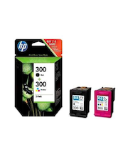 HP 300 yhdistelmäpakkaus musta ja   kolmiväri