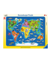 Ravensburger World Map with Animals palapeli, 30 palaa