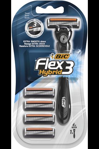 Bic 1kpl Flex3 easy varsi ja 4kpl vaihtoterää