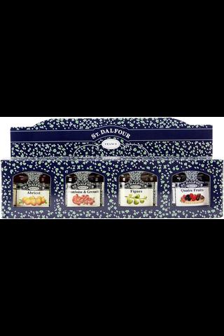 St.Dalfour 4 x 28g hillolajitelma viikuna, vadelma-granaattiomena, aprikoosi, 4-marjaa