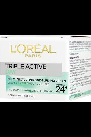 L'Oréal Paris Triple Active kosteuttava päivävoide normaalille ja sekaiholle 50ml