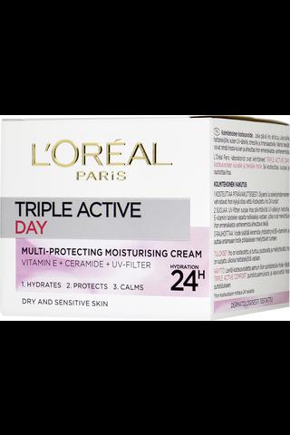 L'Oréal Paris 50ml Triple Active suojaava kosteusvoide kuivalle ja herkälle iholle
