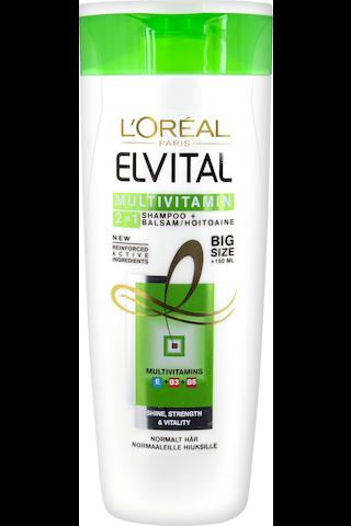 L'Oréal Paris Elvital 400ml Multivitamin 2in1 shampoo&hoitoaine normaaleille hiuksille