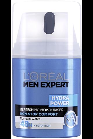 6 x L'Oréal Paris Men Expert Hydra Power virkistävä geelimäinen kosteusvoide kasvoille 50ml