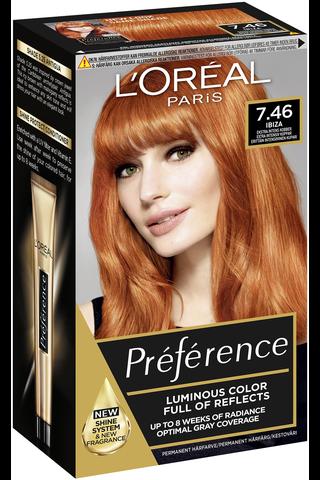 L'Oréal Paris Préférence Infinia 7.46 Montmartre Very Intense Copper Erittäin intensiivinen kupari kestoväri