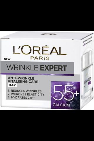 L'Oréal Paris Wrinkle Expert 55+ 50ml elinvoimaisuutta antava päivävoide ryppyjä vastaan
