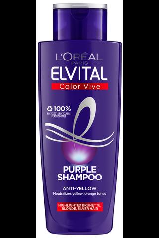 L'Oréal Paris Elvital 200ml Color Vive Purple violetinvärinen hopeashampoo