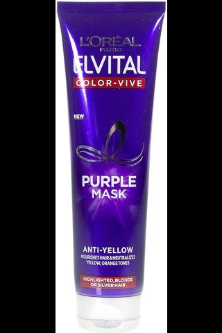 L'Oréal Paris Elvital 150ml Color Vive Purple violetinvärinen hopeanaamio