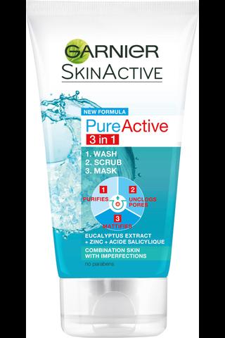 Garnier Skin Active Pure Active 3in1 kuoriva puhdistusnaamio 150ml