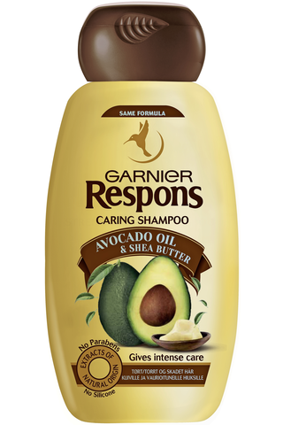 Garnier Respons 250ml Avocado Shea hoitava shampoo kuiville ja vaurioituneille hiuksille