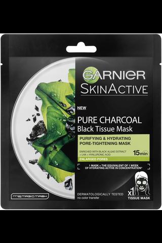 Garnier Skin Active 32g Black Tissue Pure Charcoal Black Algae mattapinnan jättävä puhdistava naamio