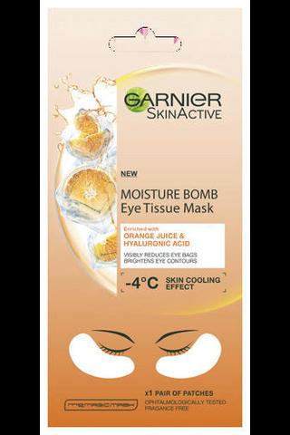 Garnier Skin Active Moisture Bomb Eye Tissue Mask 6g Orange Juice silmänalusnaamio, silmäpusseista vähemmän näkyvät