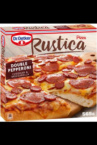 Dr. Oetker Rustica Double Pepperoni Cheddar & Mozzarella pakastepizza  565g