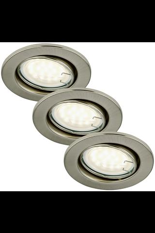Briloner LED 3 x 3W GU10 upotettava alasvalosetti harjattu teräs kohdistettava