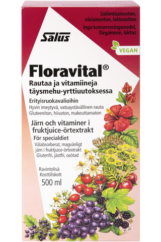 Salus Floravital rautaa ja vitamiineja täysmehu-yrttiuutoksessa 500ml