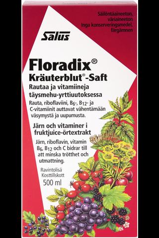 Salus Floradix rautaa ja vitamiineja täysmehu-yrttiuutoksessa 500ml