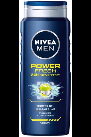 NIVEA MEN 500ml Power Refresh Shower Gel - Body, Face & Hair -suihkugeeli