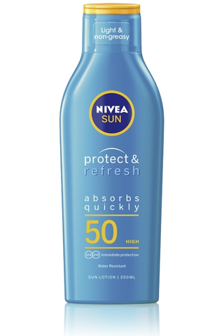 NIVEA SUN 200ml sk50 Protect & Refresh Sun Lotion -aurinkosuojavoide