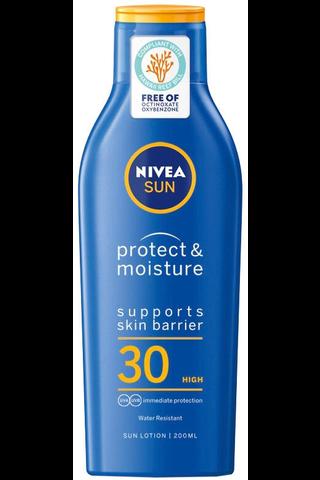 NIVEA SUN 200ml sk30 Protect & Moisture Sun Lotion -aurinkosuojavoide