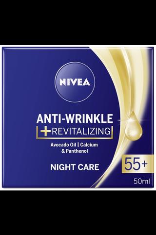 NIVEA 50ml Anti-Wrinkle + Revitalizing Night Care 55+ -yövoide