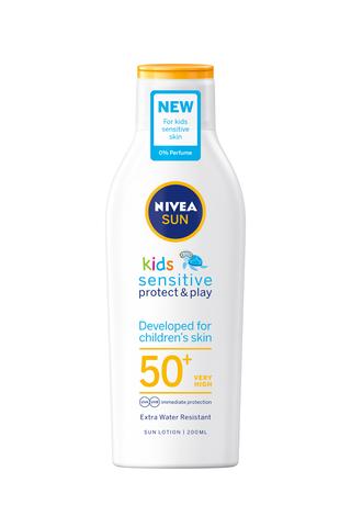 NIVEA SUN Kids 200ml Sensitive Protect & Play Sun Lotion SK50+ -aurinkosuojavoide