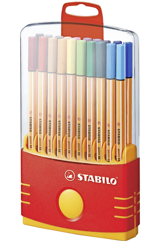 Stabilo tussikynäpakkaus Point 88 Fineliner 20 väriä keltaisessa telineessä
