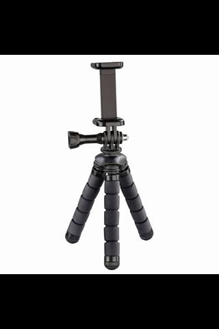 Hama Flex Mini jalusta älypuhelimille ja GoPro-kameroille, 14 cm, musta