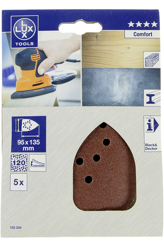 Lux hiomapaperi 95x135mm P120 5kpl Comfort